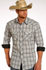 Rough Stock Mens Long Sleeve Plaid Snap Western Shirt - White