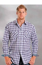 Rough Stock Mens Long Sleeve Plaid Western Snap Shirt - White/Purple (Closeout)