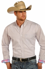 Rough Stock Mens Long Sleeve Print Button Down Western Shirt - Baby Pink