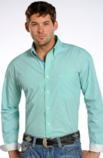 Rough Stock Mens Long Sleeve Print Button Down Western Shirt - Turquoise (Closeout)