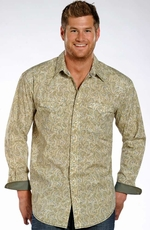 Rough Stock Mens Long Sleeve Print Snap Western Shirt