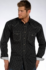 Rough Stock Mens Long Sleeve Print Snap Western Shirt - Black