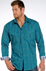 Rough Stock Mens Long Sleeve Print Snap Western Shirt - Blue (Closeout)