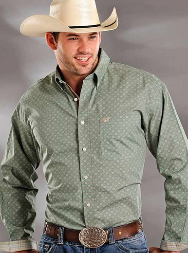 Rough Stock Mens Long Sleeve Vintage Print Western Button Down Shirt - Green