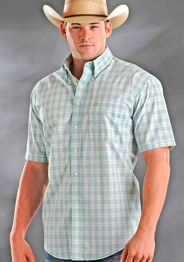Rough Stock Mens Short Sleeve Button Down Plaid Western Shirt - White/Light Green