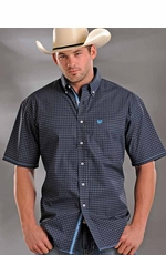 Rough Stock Mens Short Sleeve Check Button Down Western Shirt - Black