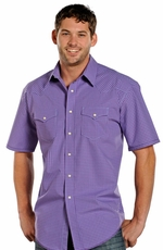 Rough Stock Mens Short Sleeve Check Snap Western Shirt - Purple
