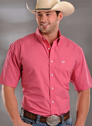 Rough Stock Mens Short Sleeve Check Western Button Down Shirt - Pink (Closeout)