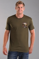 "Rough Stock Mens Short Sleeve ""Ducks Flyin"" Tee Shirt - Olive Drab (Closeout)"