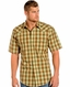 Rough Stock Mens Short Sleeve Plaid Snap Western Shirt - Brown (Closeout)