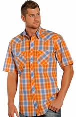Rough Stock Mens Short Sleeve Plaid Snap Western Shirt - Orange (Closeout)