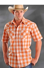 Rough Stock Mens Short Sleeve Plaid Western Snap Shirt - Orange