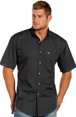 Rough Stock Mens Short Sleeve Print Button Down Western Shirt - Charcoal