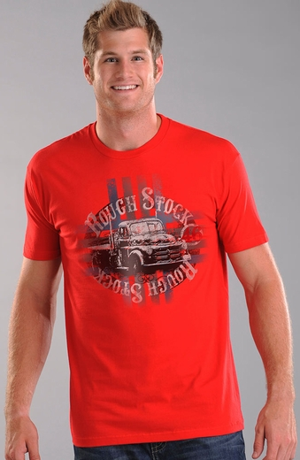 Rough Stock Mens Short Sleeve Truck Tee Shirt - Red