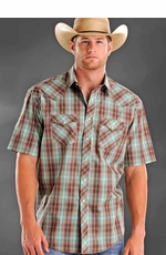 Rough Stock Mens Short Sleeve Western Plaid Snap Shirt - Turquoise/Brown