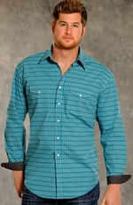 Rough Stock Mens Vintage Long Sleeve Plaid Western Snap Shirt - Turquoise (Closeout)