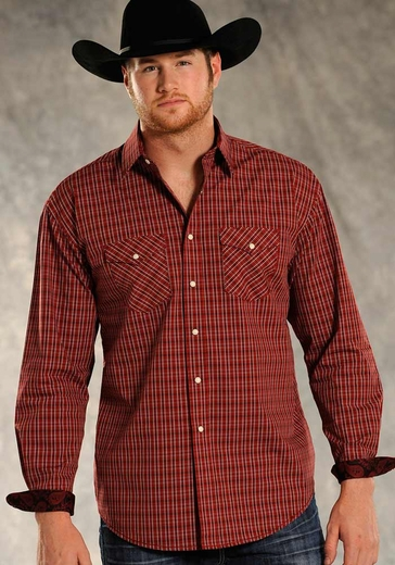 Rough Stock Mens Long Sleeve Hood River Plaid Snap Shirt - Red (Closeout)