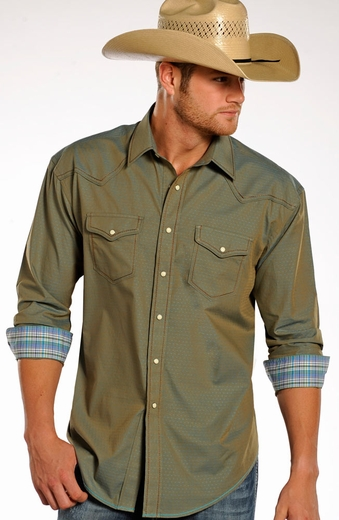 Rough Stock Mens Long Sleeve Iridescent Snap Western Shirt (Closeout)