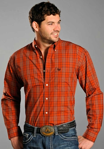 Rough Stock Mens Long Sleeve Plaid Button Down Western Shirt - Orange