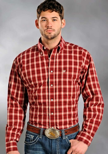 Rough Stock Mens Long Sleeve Plaid Button Down Western Shirt - Red (Closeout)