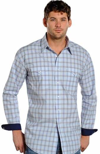 Rough Stock Mens Long Sleeve Plaid Snap Western Shirt - Blue (Closeout)