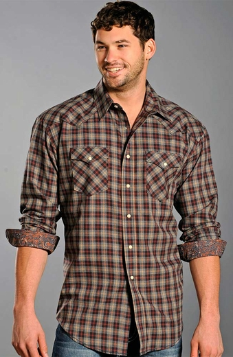 Rough Stock Mens Long Sleeve Plaid Snap Western Shirt - Brown