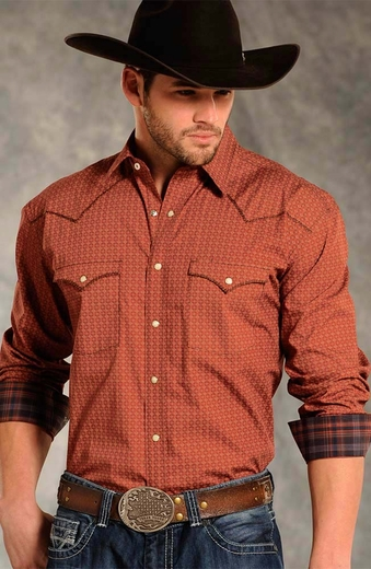 Rough Stock Mens Long Sleeve Snap Print Western Shirt - Rust
