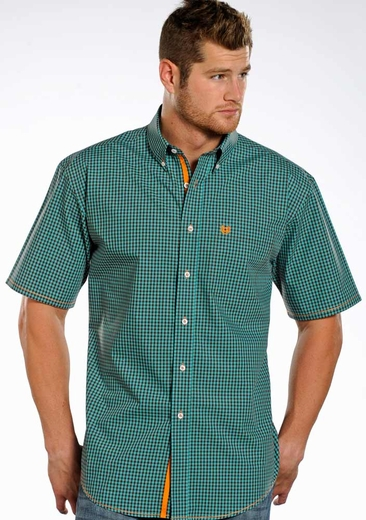 Rough Stock Mens Short Sleeve Check Button Down Western Shirt - Blue (Closeout)
