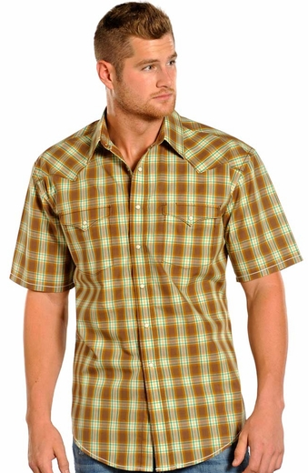 Rough Stock Mens Short Sleeve Plaid Snap Western Shirt - Brown