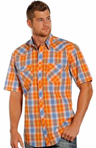 Rough Stock Mens Short Sleeve Plaid Snap Western Shirt - Orange