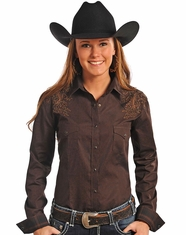 Rough Stock Women's Long Sleeve Embroidered Western Vintage Print Snap Shirt-Brown (Closeout)