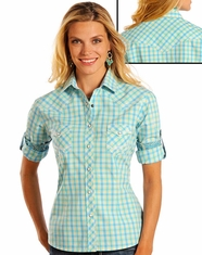 Rough Stock Women's Long Sleeve Plaid Snap Shirt- Aquamarine