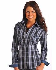 Rough Stock Women's Long Sleeve Plaid Snap Shirt-Blue (Closeout)