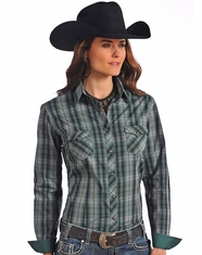 Rough Stock Women's Long Sleeve Plaid Snap Shirt-Green (Closeout)