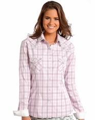 Rough Stock Women's Long Sleeve Plaid Snap Shirt-Pink (Closeout)