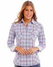 Rough Stock Women's Long Sleeve Print Snap Shirt- Baby Blue