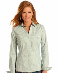 Rough Stock Women's Long Sleeve Print Snap Shirt- Green