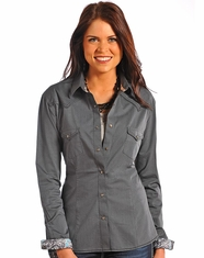 Rough Stock Women's Long Sleeve Solid Vintage Dobby Snap Shirt-Grey (Closeout)