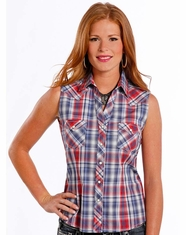 Rough Stock Women's Sleeveless Plaid Snap Shirt- Blue
