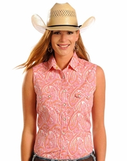 Rough Stock Women's Sleeveless Printed Snap Shirt- Pink