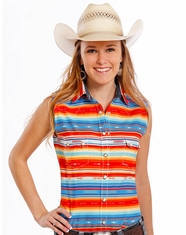 Rough Stock Women's Sleeveless Stripe Snap Shirt- Multi