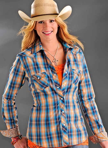 Rough Stock Womens Long Sleeve Plaid Western Snap Shirt - Blue/Orange
