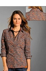 Rough Stock Womens Long Sleeve Paisley Print Snap Shirt - Grey/Orange