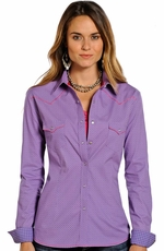 Rough Stock Womens Long Sleeve Print Snap Western Shirt - Purple
