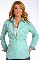 Rough Stock Womens Long Sleeve Print Snap Western Shirt - Turquoise (Closeout)