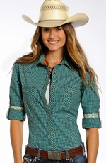 Rough Stock Womens Long Sleeve Snap Western Shirt - Turquoise