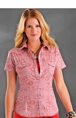 Rough Stock Womens Short Sleeve Prospect Vintage Print Western Snap Shirt - Red