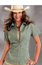 Rough Stock Womens Short Sleeve Vintage Print Western Snap Shirt - Green