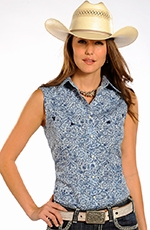 Rough Stock Womens Sleeveless Print Snap Western Shirt - Blue