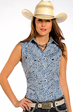 Rough Stock Womens Sleeveless Print Snap Western Shirt - Blue (Closeout)